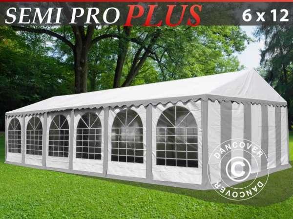 Tenda para festas semi pro plus 6x12 m pvc cinza/branco