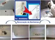 Renovação banheiras, bases de duche, polibans. Restauro, esmaltagem, vitrificação.